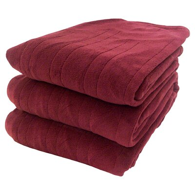 Millie Heated Knit Blanket Size: Twin, Color: Burgundy