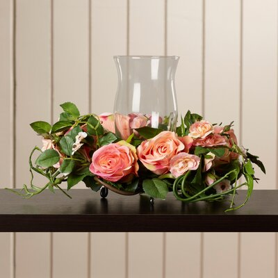 Phoebe Silk Rose Arrangement Candleholder