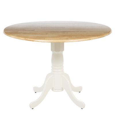 Carrie Round 42 Dual Drop Leaf Dining Table Finish: White/Natural