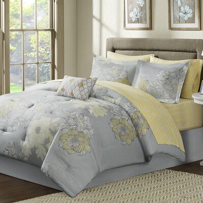 Effie Comforter Set Size: Twin, Color: Grey