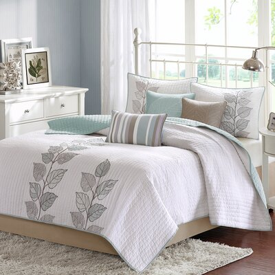 6 Piece Coverlet Set Size: Queen, Color: Blue