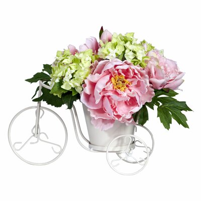 Tricycle Silk Peony and Hydrangeas with Vase