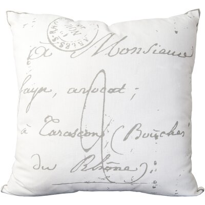 Evelina Classical French Script 100% Cotton Throw Pillow Size: 18 H x 18 W x 4 D, Color: Pewter / Papyrus, Filler: Down