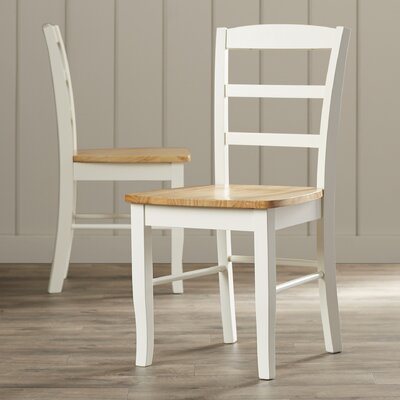 Brianne Solid Wood Dining Chair Color: White and Natural