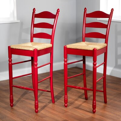 Erma 30 Ladder Back Bar Stool Frame Color: Red