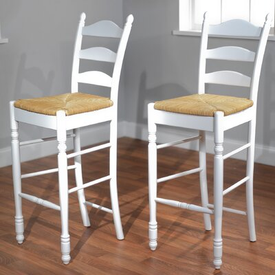 Erma 30 Ladder Back Bar Stool Frame Color: White