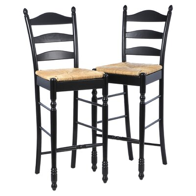 Erma 30 Ladder Back Bar Stool Frame Finish: Black