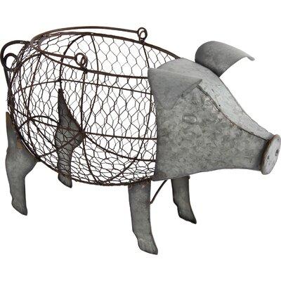 Pig Basket Figurine