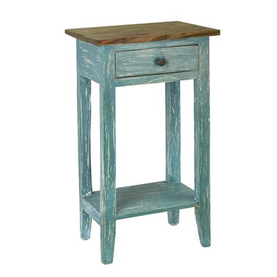 Cusseta End Table With Storage Color: Blue