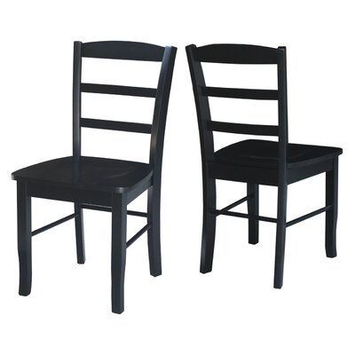Brianne Ladderback Solid Wood Dining Chair Finish: Black