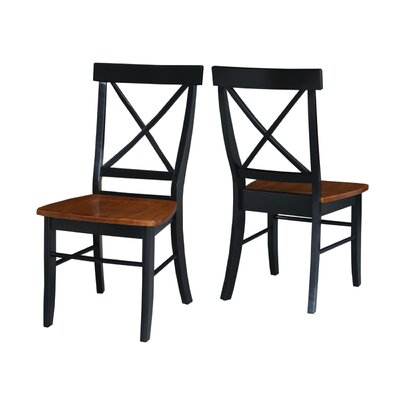 Sawyer Cross Back Solid Wood Dining Chair Finish: Black/Cherry