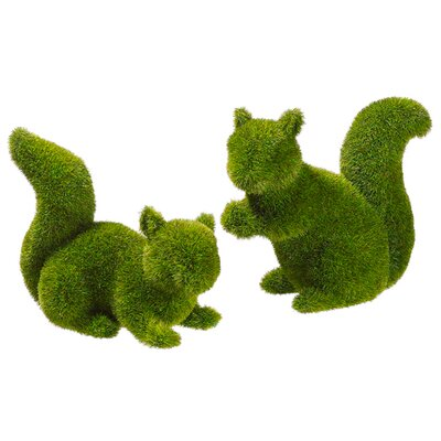 Dayton 2 Piece Moss Covered Squirrel Topiary