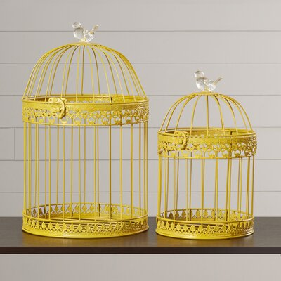 Ethelyn 2 Piece Decorative Bird Cage Set Color: Yellow