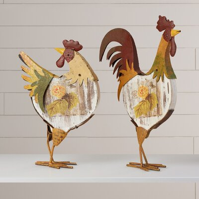 Esta 2 Piece Rooster Figurine Set