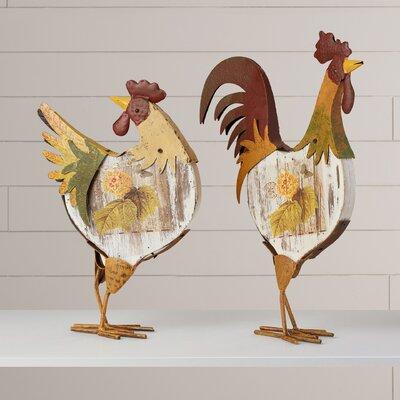 Esta 2 Piece Rooster Figurine Set