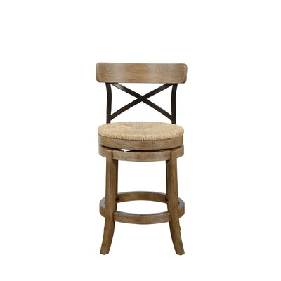 Jacklyn 24 Swivel Bar Stool Finish: Wheat Wire-Brush