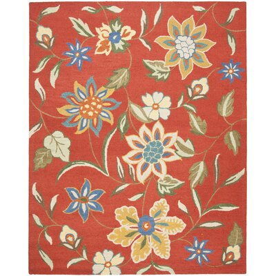 Canon Hand-Hooked Rust Area Rug Rug Size: Rectangle 89 x 12