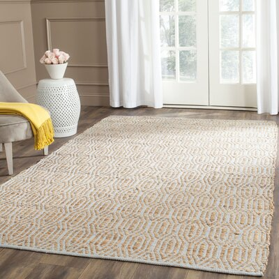 Zap Hand-Woven Silver/Natural Area Rug Rug Size: 5 x 8