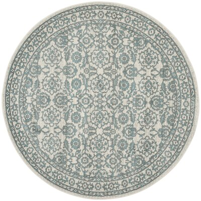 Ruthie Ivory/Gray Area Rug Rug Size: Round 67 x 67