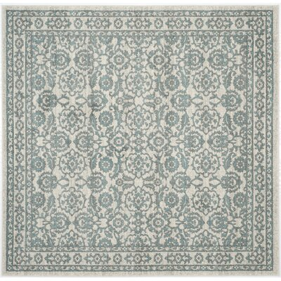 Ruthie Hand-Loomed Ivory/Grey Area Rug Rug Size: Square 67 x 67