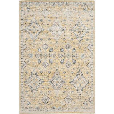 Ruthie Hand-Loomed Yellow Area Rug Rug Size: 9 x 12
