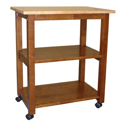 Wooler Kitchen Cart with Butcher Block Top Color: Cinnamon