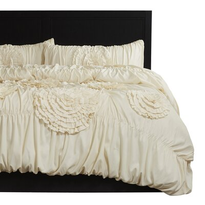 Elmira 3 Piece Comforter Set Size: King, Color: Ivory