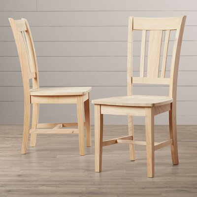 Malcolm Slat Back Solid Wood Dining Chair Finish: Unfinished