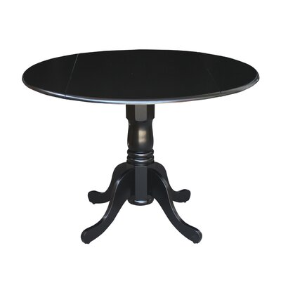 Carrie Round 42 Dual Drop Leaf Dining Table Finish: Black