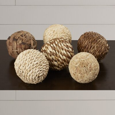 Carmella Decorative 6 Piece Ball Sculpture Set Size: 4 H x 4 W x 4 D