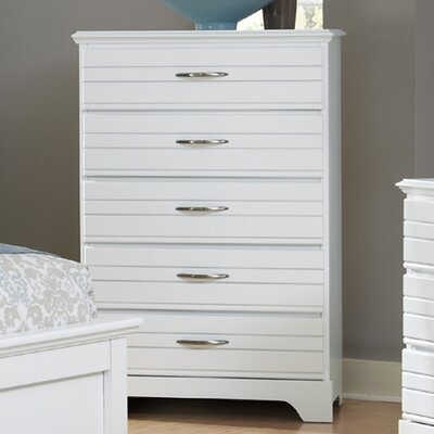 Della 5 Drawer Chest Color: White