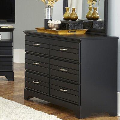 Della 6 Drawer Double Dresser Finish: Black