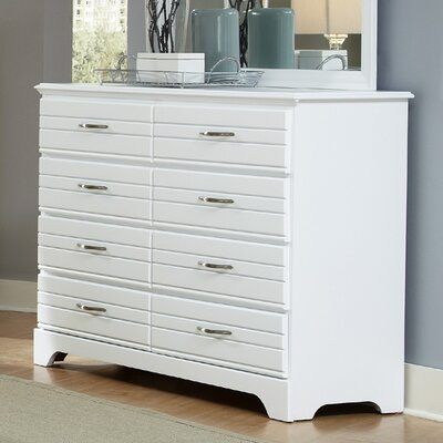 Della 8 Drawer Double Dresser Color: White