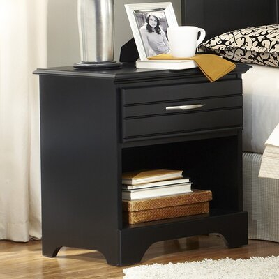 Della Wood 1 Drawer Nightstand Color: Black