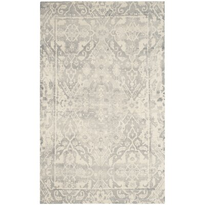 Katy Hand-Tufted Light Gray / Ivory Area Rug Rug Size: Rectangle 5 x 8
