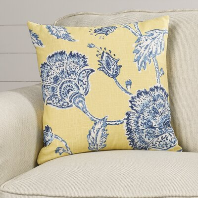 Filomena Linen Throw Pillow Color: Blue and Yellow, Size: 18 H x 18 W