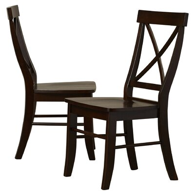 Sawyer Cross Back Solid Wood Dining Chair Finish: Rich Mocha
