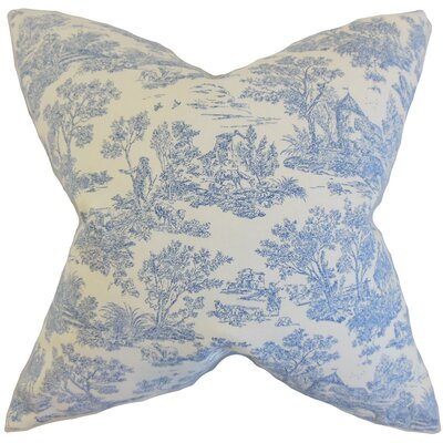 Toile Cotton Throw Pillow Color: Denim, Size: 18 x 18