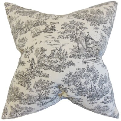 Toile Cotton Throw Pillow Color: Charcoal, Size: 18 x 18
