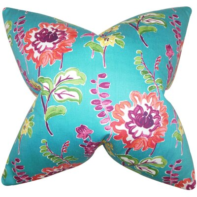 Elissa Floral Cotton Throw Pillow Color: Peacock, Size: 24 x 24