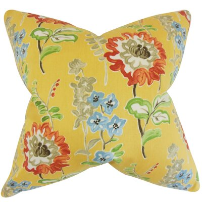 Elissa Floral Cotton Throw Pillow Color: Gold, Size: 24 x 24