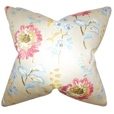 Elissa Floral Cotton Throw Pillow Color: Light, Size: 22 x 22