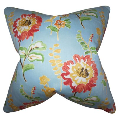 Elissa Floral Cotton Throw Pillow Color: Light Blue, Size: 22 x 22