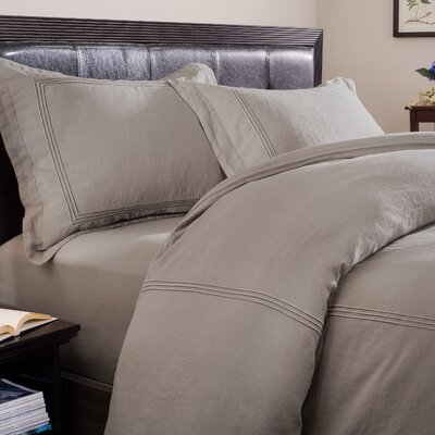 Skye 3 Piece Duvet Set Size: King, Color: Graphite Ground with Graphite Embroidery