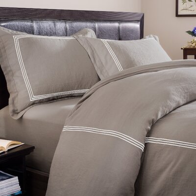 Skye 3 Piece Duvet Set Size: Queen, Color: Graphite Ground with Ivory Embroidery