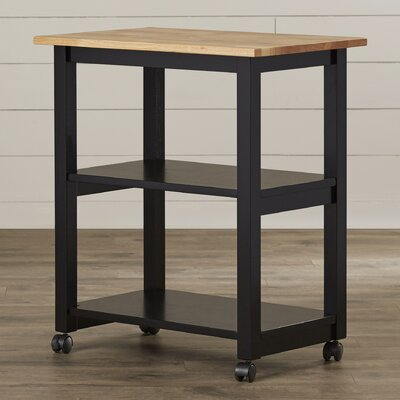 Wooler Kitchen Cart with Butcher Block Top Color: Black