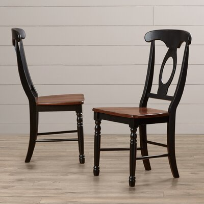 Buena Solid Wood Dining Chair (Set of 2) Finish: Honey / Espresso