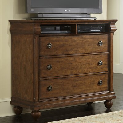 Oreana 3 Drawer Media Chest Color: Rustic Cherry