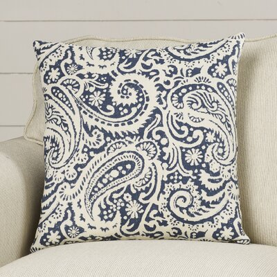 Francisca Paisley Linen Throw Pillow Color: Indigo, Size: 20 x 20