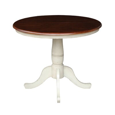 36 Extendable Round Pedestal Dining Table Finish Antiqued Almond Espresso